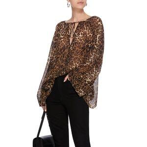 NILI LOTAN Silk Acacia Leopard Animal Print Blouse